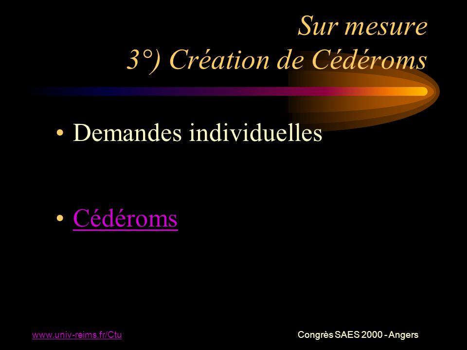 www.univ-reims.fr/Ctu Congrès SAES 2000 - Angers Sur mesure 3°) Création de Cédéroms Demandes individuelles Cédéroms