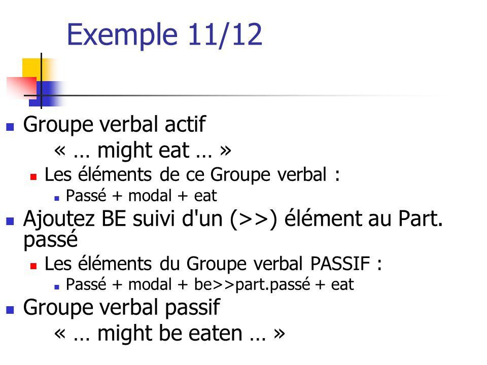 Exemple 11/12 Groupe verbal actif « … might eat … » Les éléments de ce Groupe verbal : Passé + modal + eat Ajoutez BE suivi d'un (>>) élément au Part.