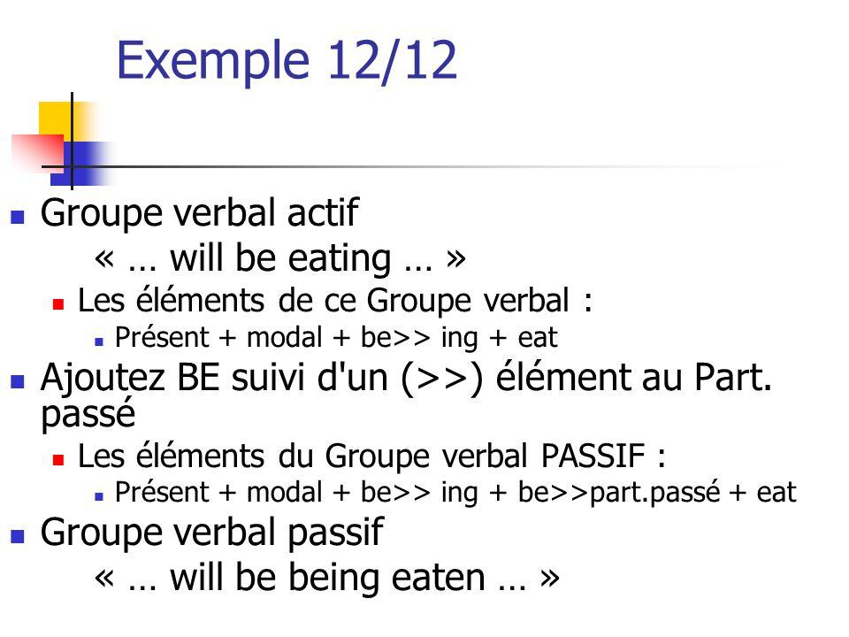 Exemple 12/12 Groupe verbal actif « … will be eating … » Les éléments de ce Groupe verbal : Présent + modal + be>> ing + eat Ajoutez BE suivi d'un (>>