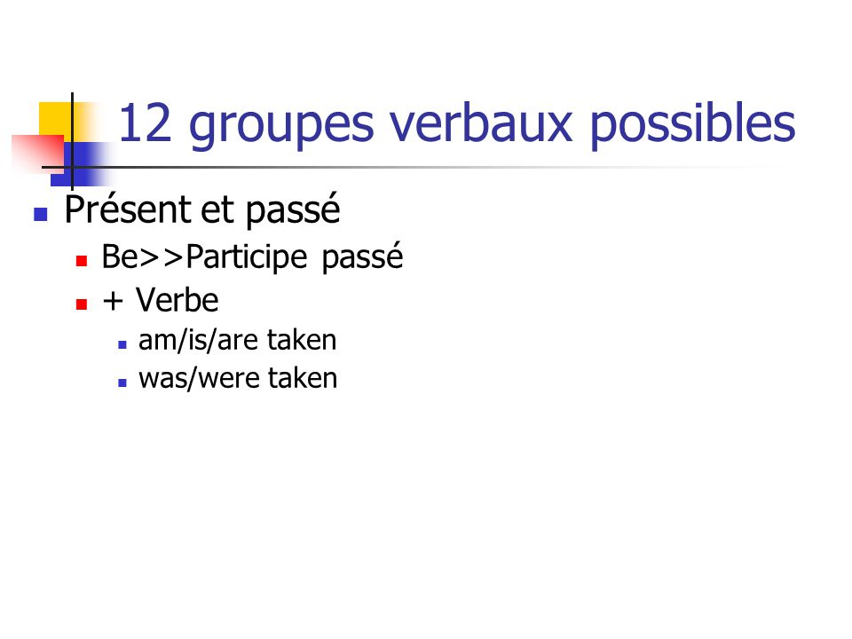 12 groupes verbaux possibles Be>>ing + Be>>Participe passé + Verbe am/is/are being taken was/were being taken Have>>Participe passé + Be>>Participe passé + Verbe have/has been taken had been taken Modal + Be>>Participe passé + Verbe will be taken would be taken
