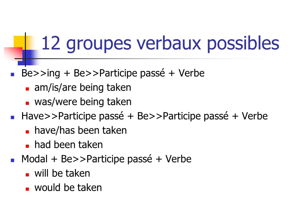 Exemple 10/12 Groupe verbal actif « … should have spent … » Les éléments de ce Groupe verbal : Passé + modal + have>>part.passé + spend Ajoutez BE suivi d un (>>) élément au Part.