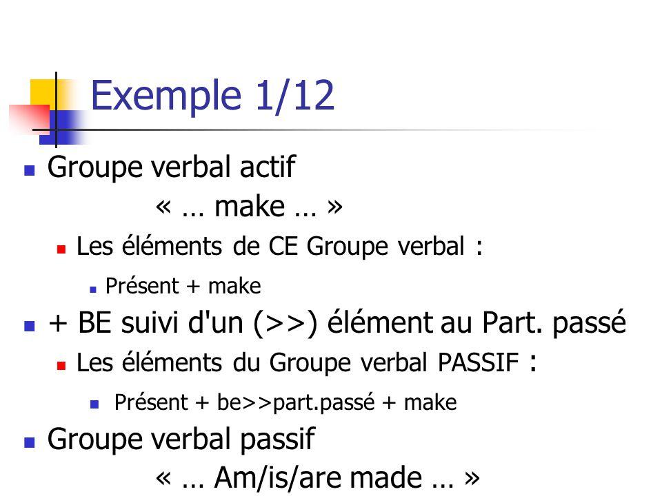 Exemple 1/12 Groupe verbal actif « … make … » Les éléments de CE Groupe verbal : Présent + make + BE suivi d'un (>>) élément au Part. passé Les élémen