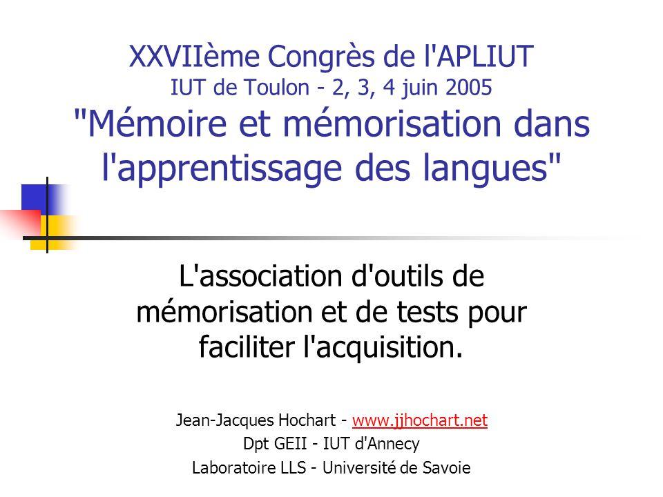 XXVIIème Congrès de l'APLIUT IUT de Toulon - 2, 3, 4 juin 2005