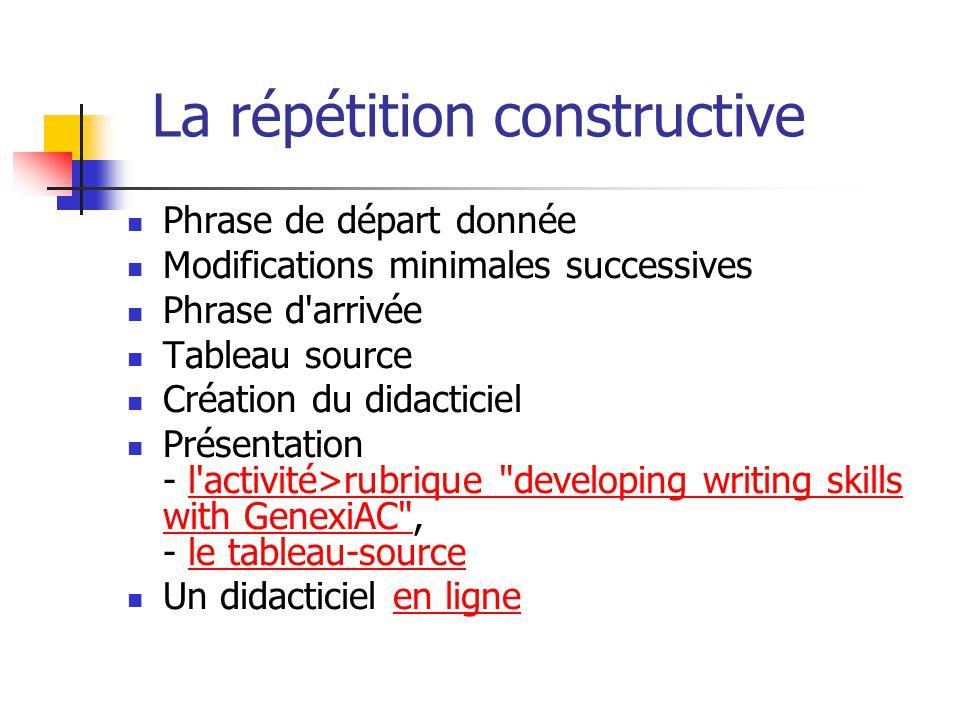 La répétition constructive Phrase de départ donnée Modifications minimales successives Phrase d'arrivée Tableau source Création du didacticiel Présent