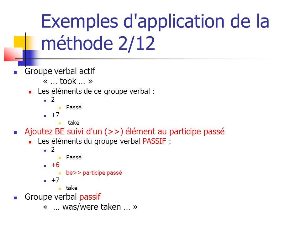 Exemples d'application de la méthode 2/12 Groupe verbal actif « … took … » Les éléments de ce groupe verbal : 2 Passé +7 take Ajoutez BE suivi d'un (>