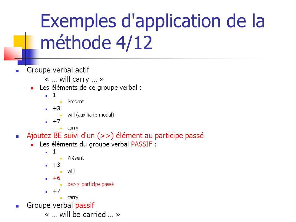Exemples d'application de la méthode 4/12 Groupe verbal actif « … will carry … » Les éléments de ce groupe verbal : 1 Présent +3 will (auxiliaire moda