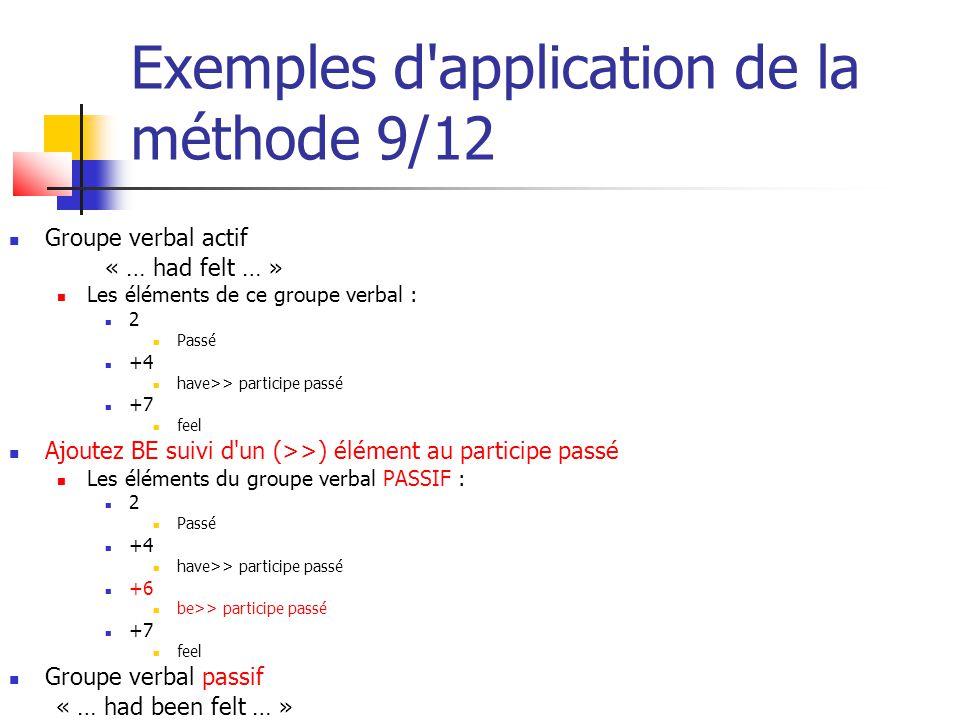 Exemples d'application de la méthode 9/12 Groupe verbal actif « … had felt … » Les éléments de ce groupe verbal : 2 Passé +4 have>> participe passé +7