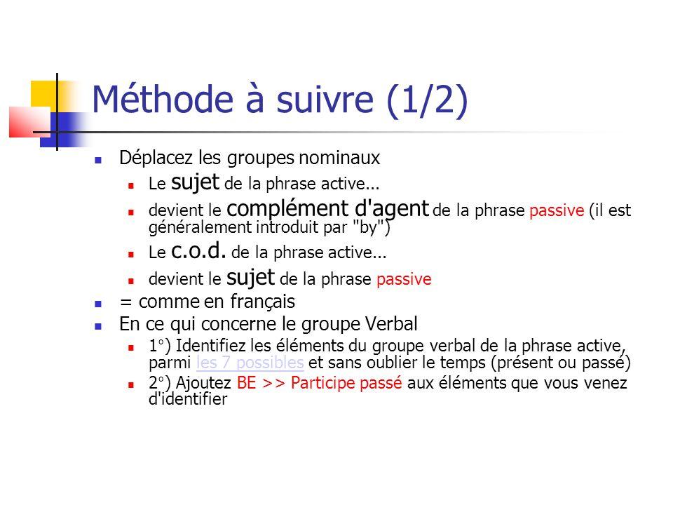 Méthode à suivre (1/2) Déplacez les groupes nominaux Le sujet de la phrase active... devient le complément d'agent de la phrase passive (il est généra