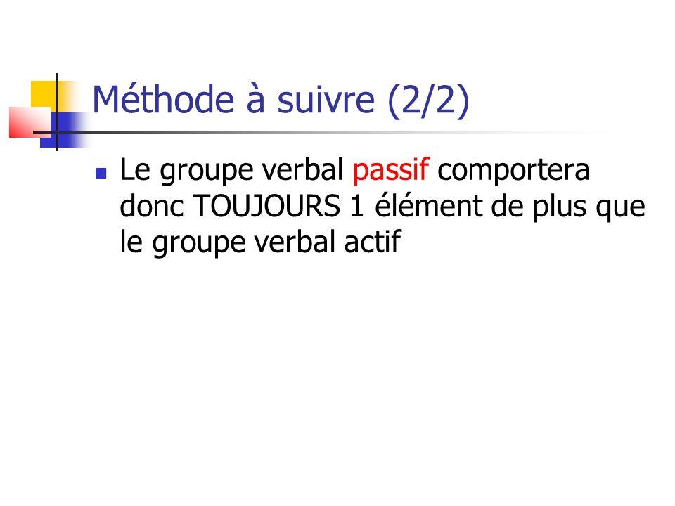 Méthode à suivre (2/2) Le groupe verbal passif comportera donc TOUJOURS 1 élément de plus que le groupe verbal actif