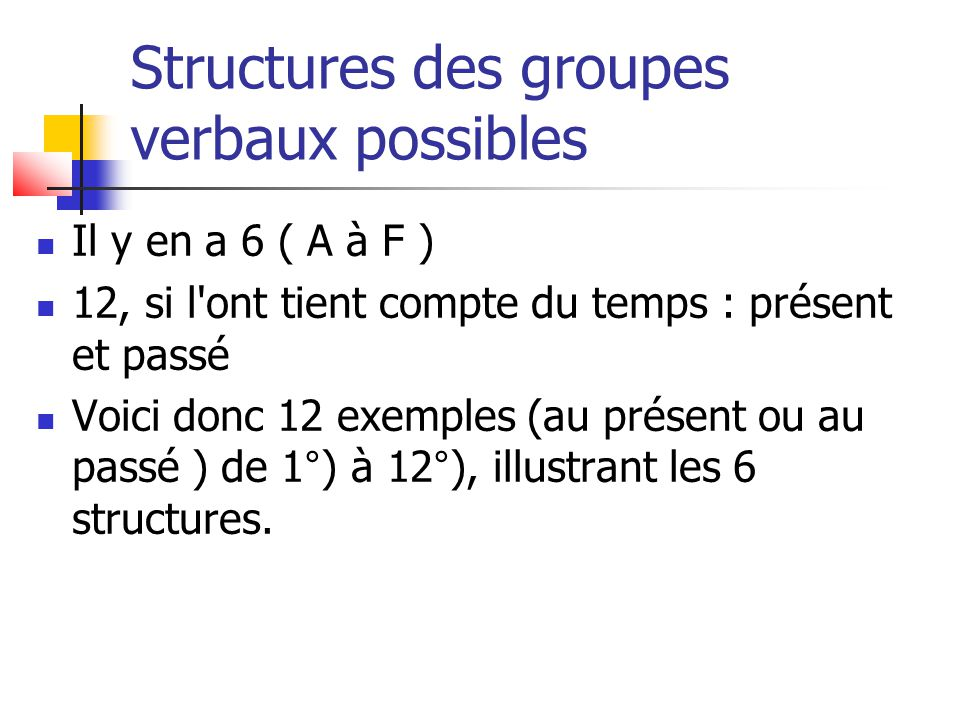 12 groupes verbaux possibles (1/2) A) Be>>Participe passé + Verbe 1°) am/is/are taken 2°) was/were taken B) Be>>ing + Be>>Participe passé + Verbe 3°) am/is/are being taken 4°) was/were being taken C) Have>>Participe passé + Be>>Participe passé + Verbe 5°) have/has been taken 6°) had been taken