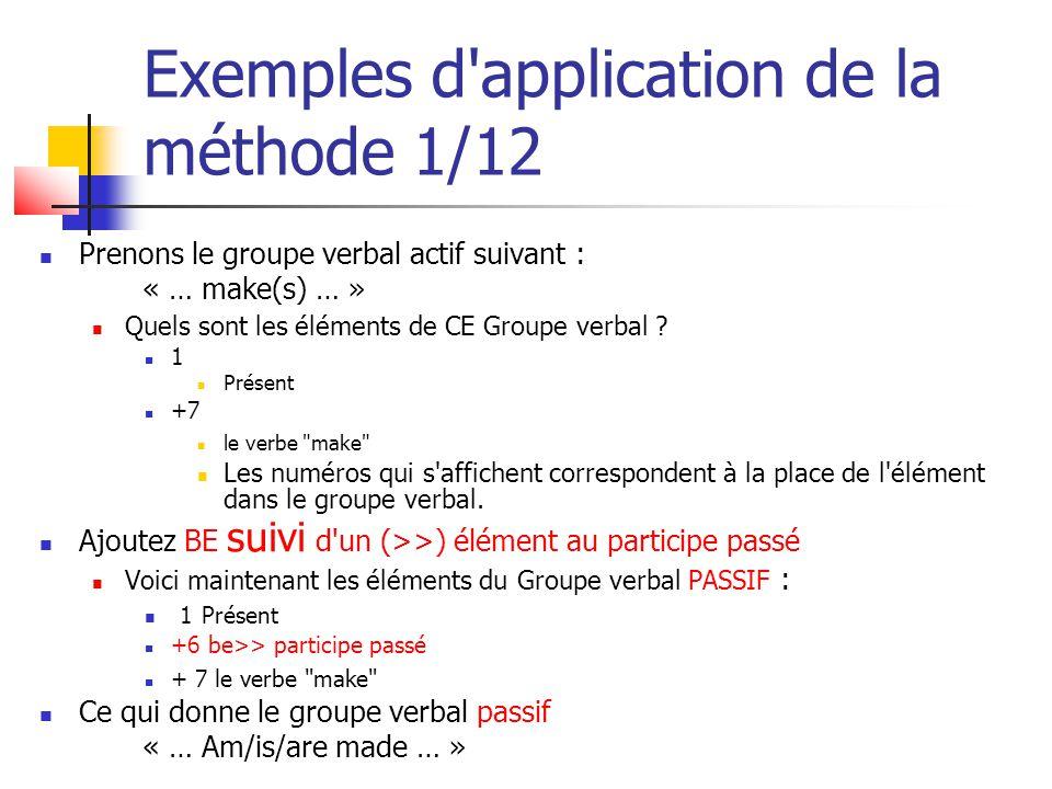 Exemples d'application de la méthode 1/12 Prenons le groupe verbal actif suivant : « … make(s) … » Quels sont les éléments de CE Groupe verbal ? 1 Pré