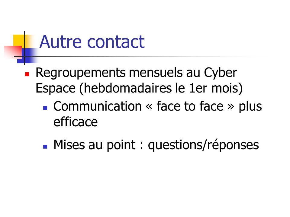 Autre contact Regroupements mensuels au Cyber Espace (hebdomadaires le 1er mois) Communication « face to face » plus efficace Mises au point : questions/réponses