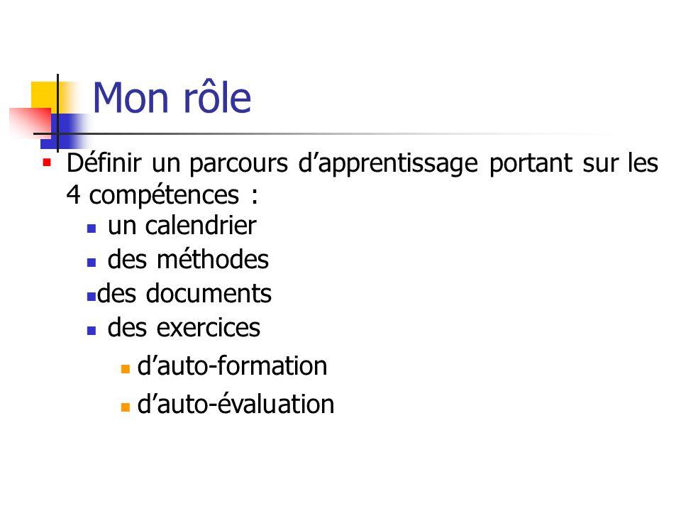 Mon rôle des exercices d'auto-formation d'auto-évaluation  Définir un parcours d'apprentissage portant sur les 4 compétences : des méthodes des documents un calendrier