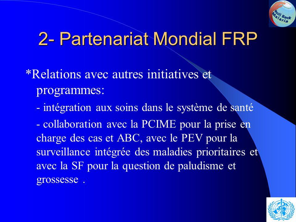 2- Partenariat Mondial FRP *Les personnes, plus particulièrement les femmes et les enfants, sont au centre du mouvement FRP * Implication de tous les secteurs de développement publics et privés (l'éducation, l'agriculture et l'environnement, etc.)