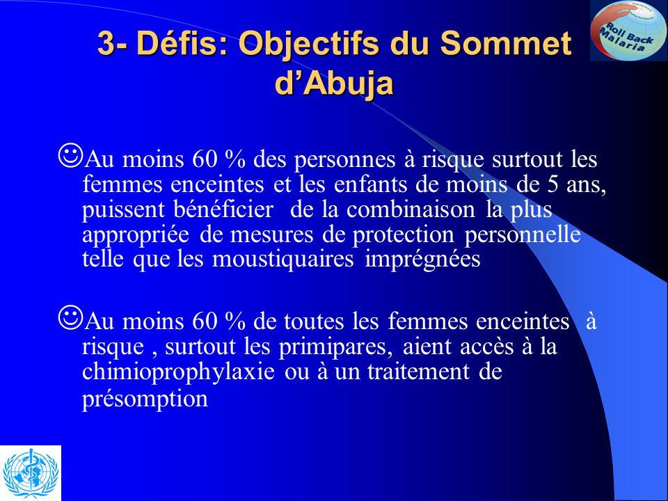 3- Défis: Objectifs du Sommet d'Abuja Prendre des mesures appropriées et durables pour renforcer les systèmes de santé afin que d 'ici à l 'an 2005: au moins 60% des paludéens aient accès à un traitement rapide, adéquat et abordable dans un délai de 24 heures après l 'apparition des symptômes