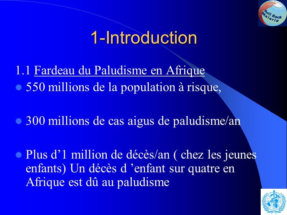 1-Introduction 1.1 Fardeau du Paludisme en Afrique 550 millions de la population à risque, 300 millions de cas aigus de paludisme/an Plus d'1 million de décès/an ( chez les jeunes enfants) Un décès d 'enfant sur quatre en Afrique est dû au paludisme