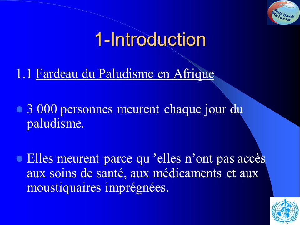 1-Introduction 1.1 Fardeau du Paludisme en Afrique 3 000 personnes meurent chaque jour du paludisme.