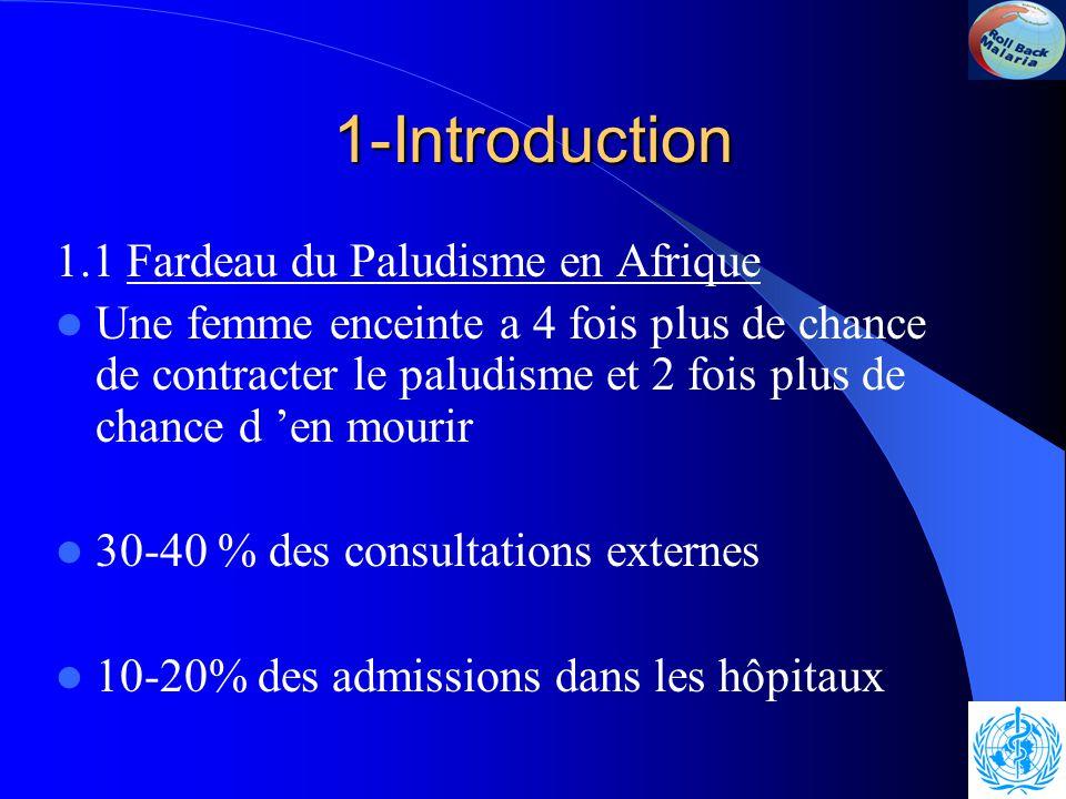 1-Introduction 1.1 Fardeau du Paludisme en Afrique Une femme enceinte a 4 fois plus de chance de contracter le paludisme et 2 fois plus de chance d 'en mourir 30-40 % des consultations externes 10-20% des admissions dans les hôpitaux