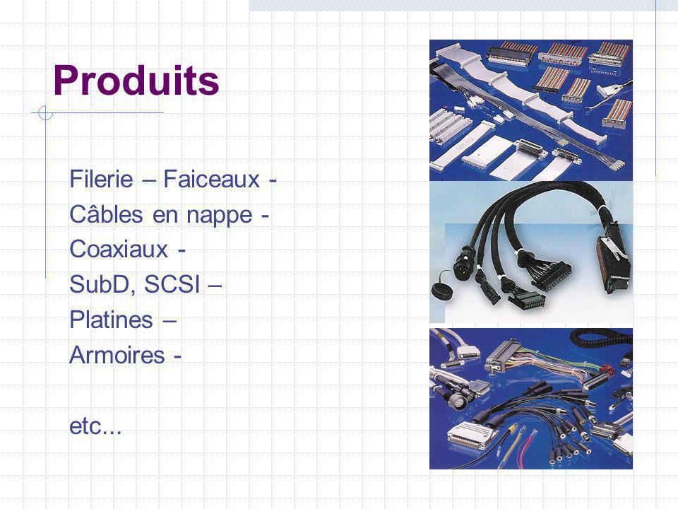 Produits Filerie – Faiceaux - Câbles en nappe - Coaxiaux - SubD, SCSI – Platines – Armoires - etc...
