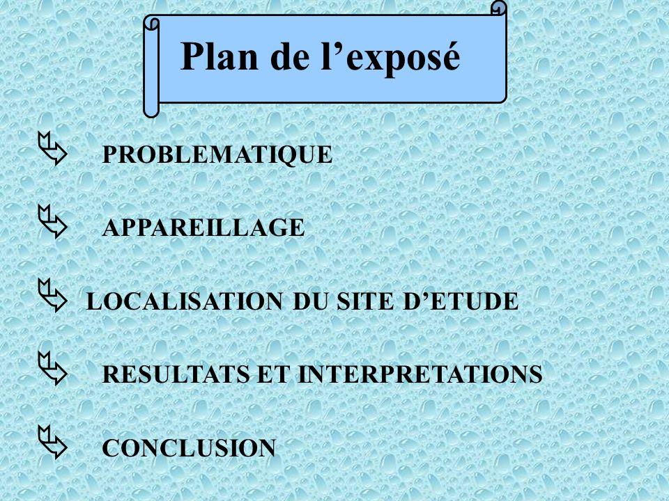  PROBLEMATIQUE  APPAREILLAGE  LOCALISATION DU SITE D'ETUDE  RESULTATS ET INTERPRETATIONS  CONCLUSION Plan de l'exposé