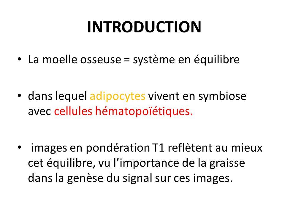 INTRODUCTION La moelle osseuse = système en équilibre dans lequel adipocytes vivent en symbiose avec cellules hématopoïétiques. images en pondération