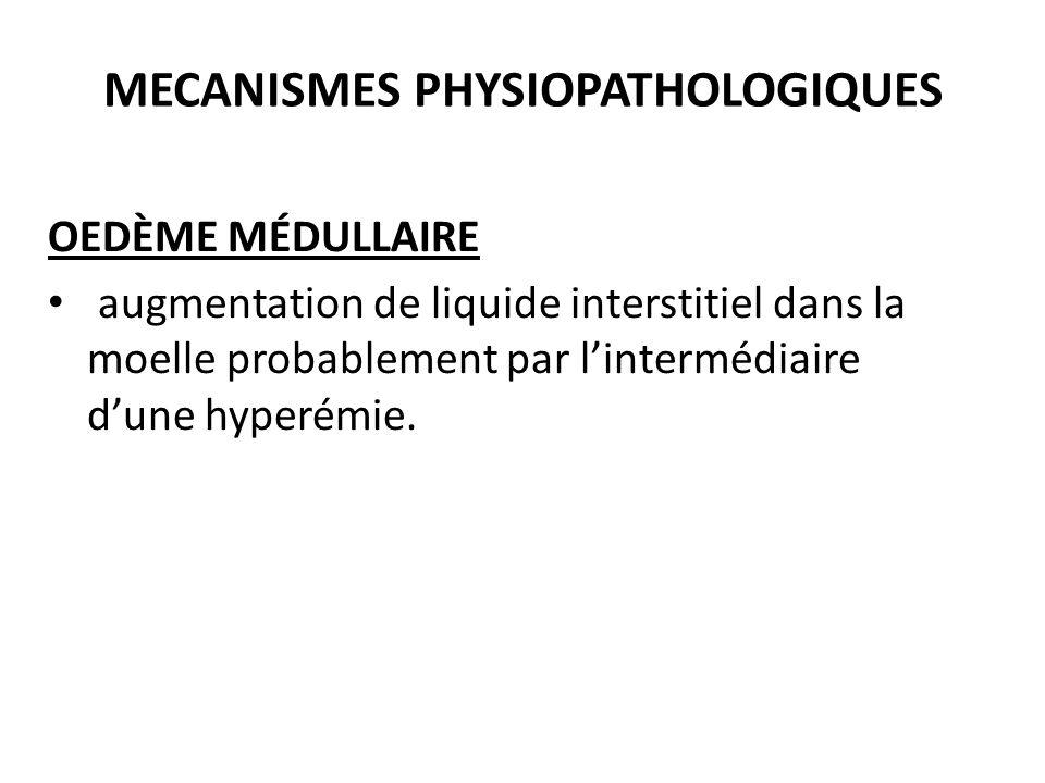 MECANISMES PHYSIOPATHOLOGIQUES OEDÈME MÉDULLAIRE augmentation de liquide interstitiel dans la moelle probablement par l'intermédiaire d'une hyperémie.
