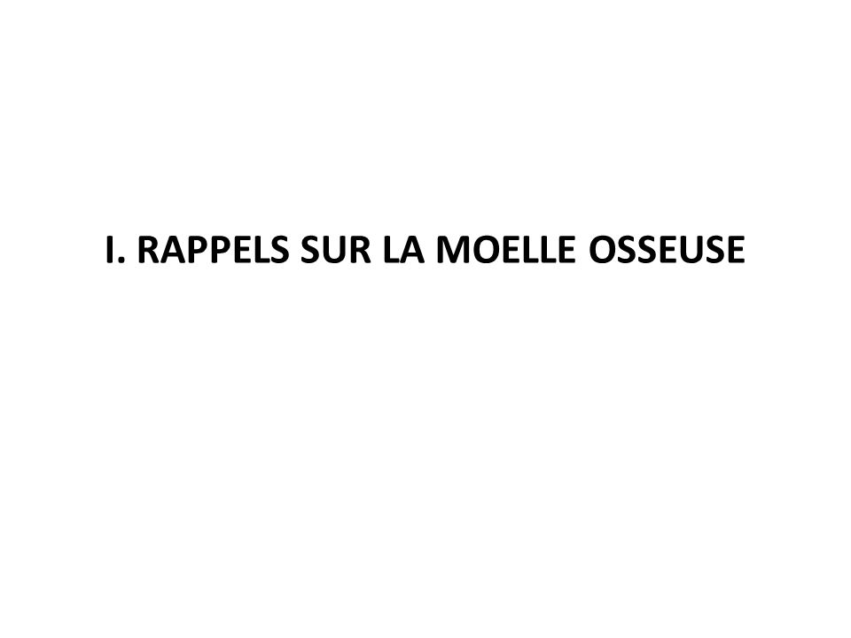 I. RAPPELS SUR LA MOELLE OSSEUSE