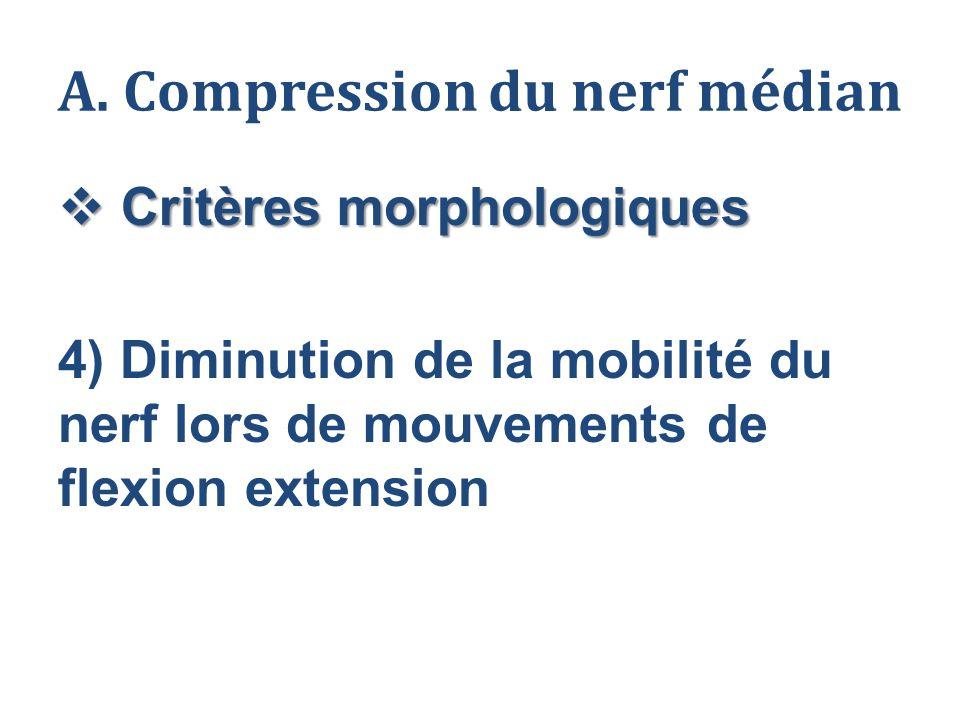 A. Compression du nerf médian  Critères morphologiques 4) Diminution de la mobilité du nerf lors de mouvements de flexion extension