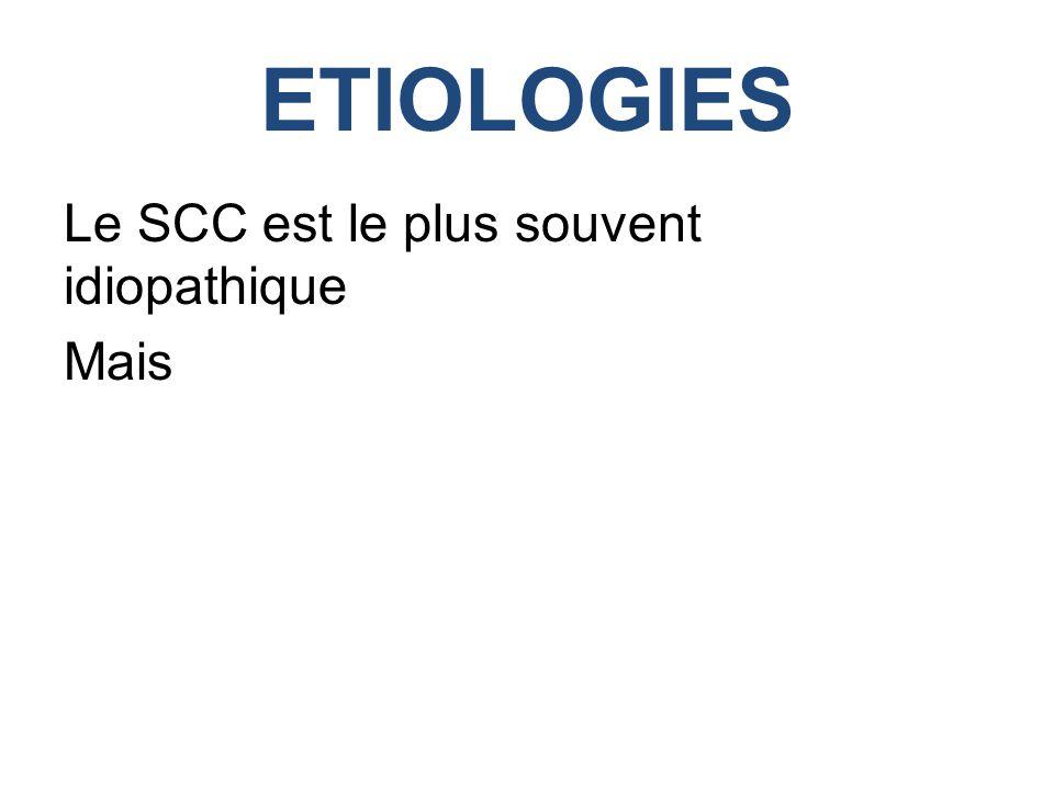 ETIOLOGIES Le SCC est le plus souvent idiopathique Mais