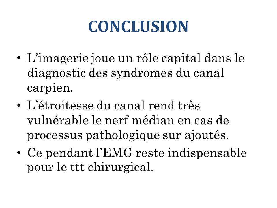 CONCLUSION L'imagerie joue un rôle capital dans le diagnostic des syndromes du canal carpien. L'étroitesse du canal rend très vulnérable le nerf média