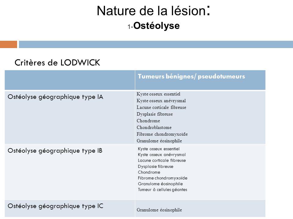 Nature de la lésion : 1- Ostéolyse Critères de LODWICK. Tumeurs bénignes/ pseudotumeurs Ostéolyse géographique type IA Kyste osseux essentiel Kyste os