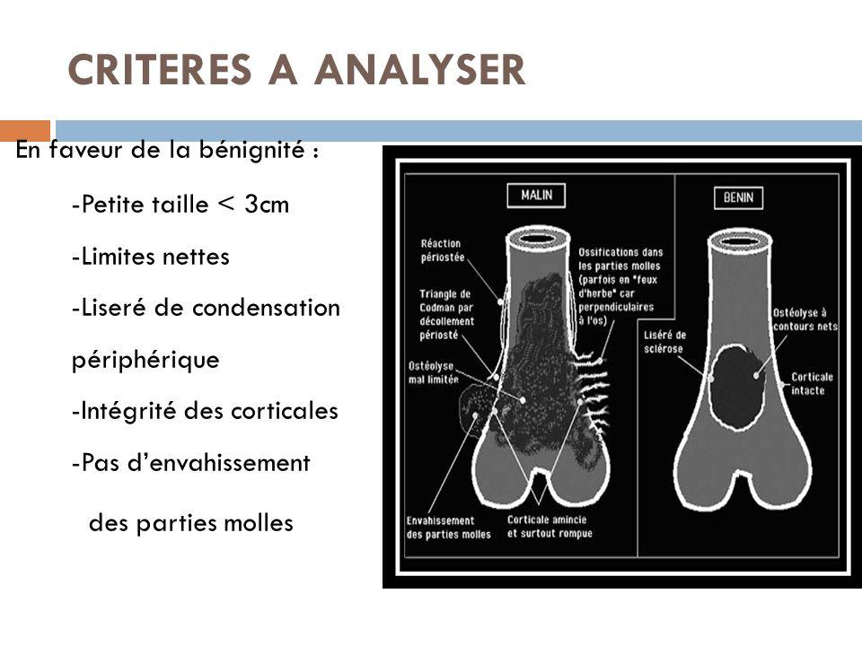CRITERES A ANALYSER  En faveur de la bénignité : -Petite taille < 3cm -Limites nettes -Liseré de condensation périphérique -Intégrité des corticales