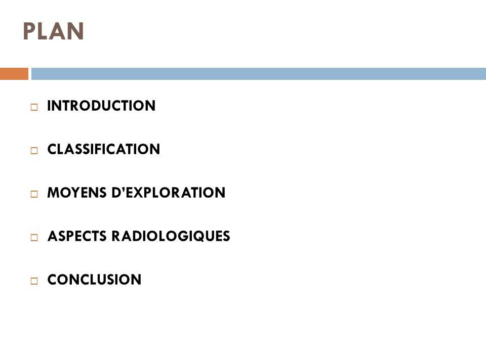 PLAN  INTRODUCTION  CLASSIFICATION  MOYENS D'EXPLORATION  ASPECTS RADIOLOGIQUES  CONCLUSION