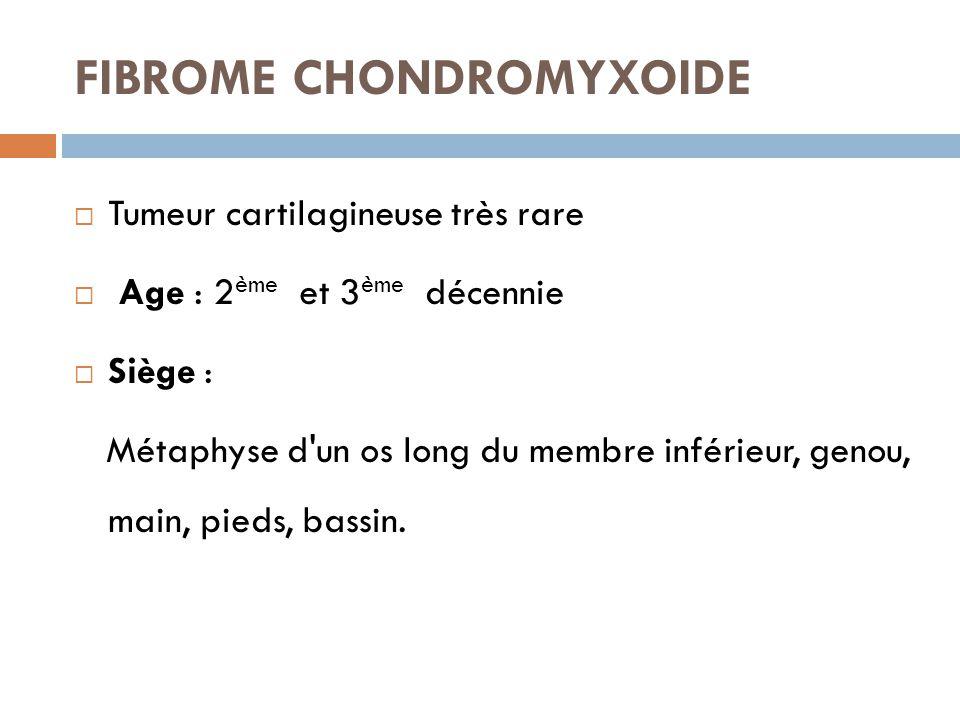 FIBROME CHONDROMYXOIDE  Tumeur cartilagineuse très rare  Age : 2 ème et 3 ème décennie  Siège : Métaphyse d'un os long du membre inférieur, genou,