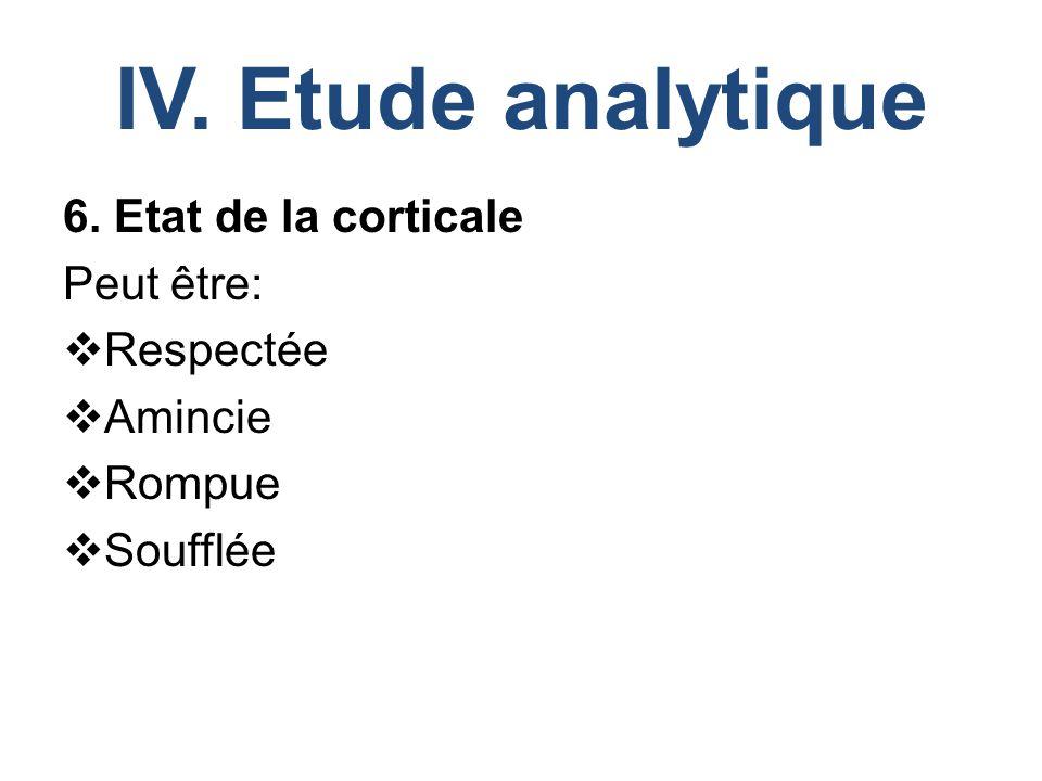 IV. Etude analytique 6. Etat de la corticale Peut être:  Respectée  Amincie  Rompue  Soufflée
