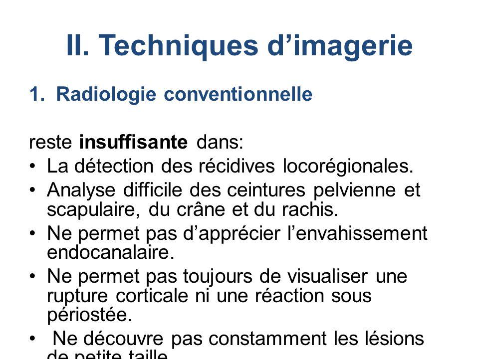 II. Techniques d'imagerie 1.Radiologie conventionnelle reste insuffisante dans: La détection des récidives locorégionales. Analyse difficile des ceint