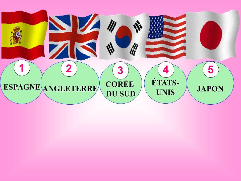 ESPAGNE ANGLETERRE CORÉE ÉTATS-UNIS JAPON 1 2 3 4 5