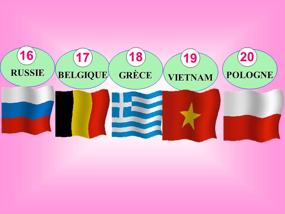 RUSSIE BELGIQUE GRÈCE VIETNAM POLOGNE 16 17 18 19 20