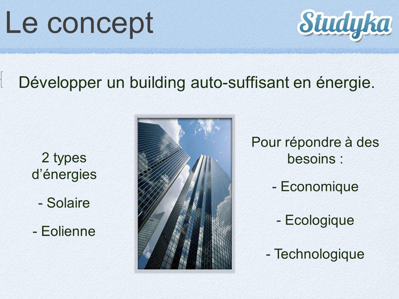 Le concept Développer un building auto-suffisant en énergie. Pour répondre à des besoins : - Economique - Ecologique - Technologique 2 types d'énergie