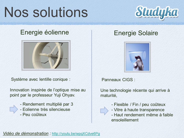 Nos solutions Vidéo de démonstration : http://youtu.be/wpqXCdve6Pg http://youtu.be/wpqXCdve6Pg Energie éolienne Energie Solaire Panneaux CIGS : Une te