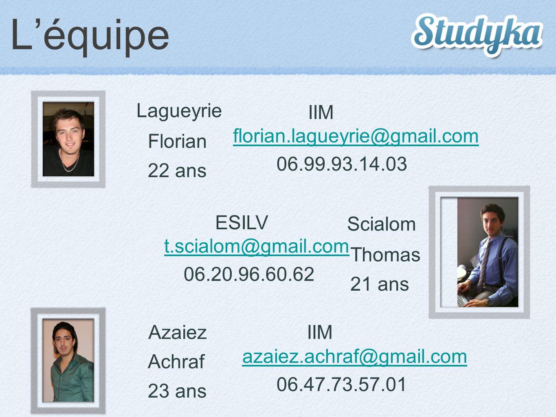 L'équipe Lagueyrie Florian 22 ans IIM 06.99.93.14.03 florian.lagueyrie@gmail.com Azaiez Achraf 23 ans IIM 06.47.73.57.01 azaiez.achraf@gmail.com Scial
