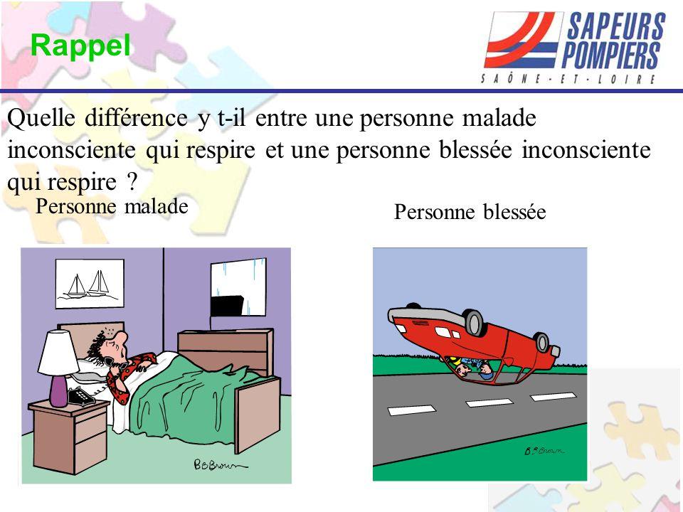 Quelle différence y t-il entre une personne malade inconsciente qui respire et une personne blessée inconsciente qui respire .