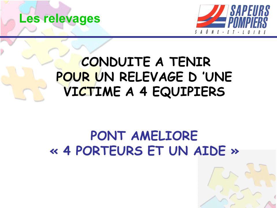 CONDUITE A TENIR POUR UN RELEVAGE D 'UNE VICTIME A 4 EQUIPIERS PONT AMELIORE « 4 PORTEURS ET UN AIDE » Les relevages