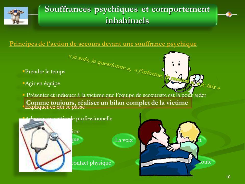 10 Souffrances psychiques et comportement inhabituels Principes de l'action de secours devant une souffrance psychique  Prendre le temps  Agir en éq