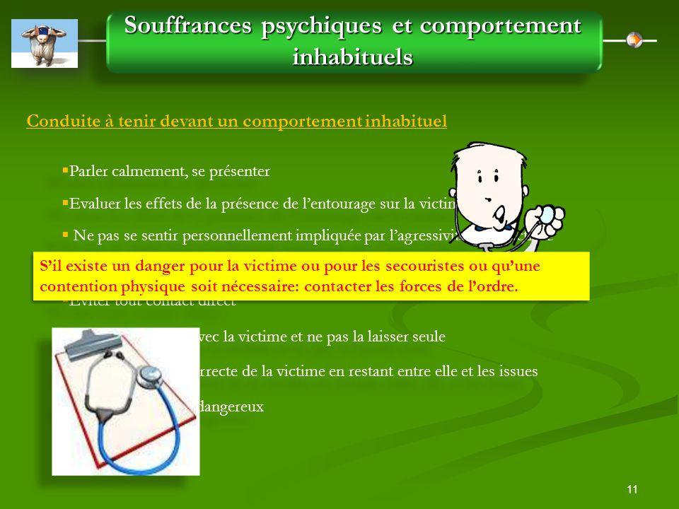 11 Souffrances psychiques et comportement inhabituels Conduite à tenir devant un comportement inhabituel  Parler calmement, se présenter  Evaluer le