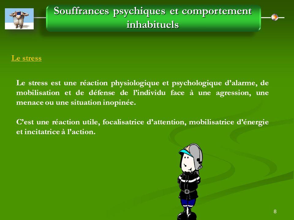 8 Souffrances psychiques et comportement inhabituels Le stress Le stress est une réaction physiologique et psychologique d'alarme, de mobilisation et