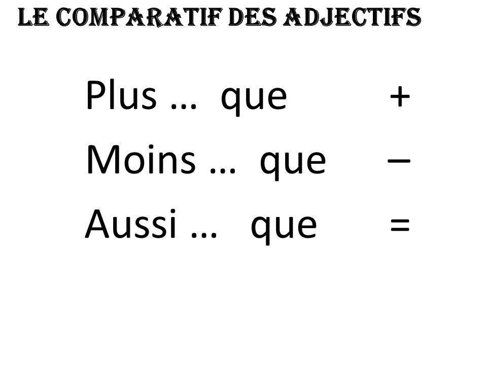 Quelques exemples … Le français est PLUS difficile QUE les maths.