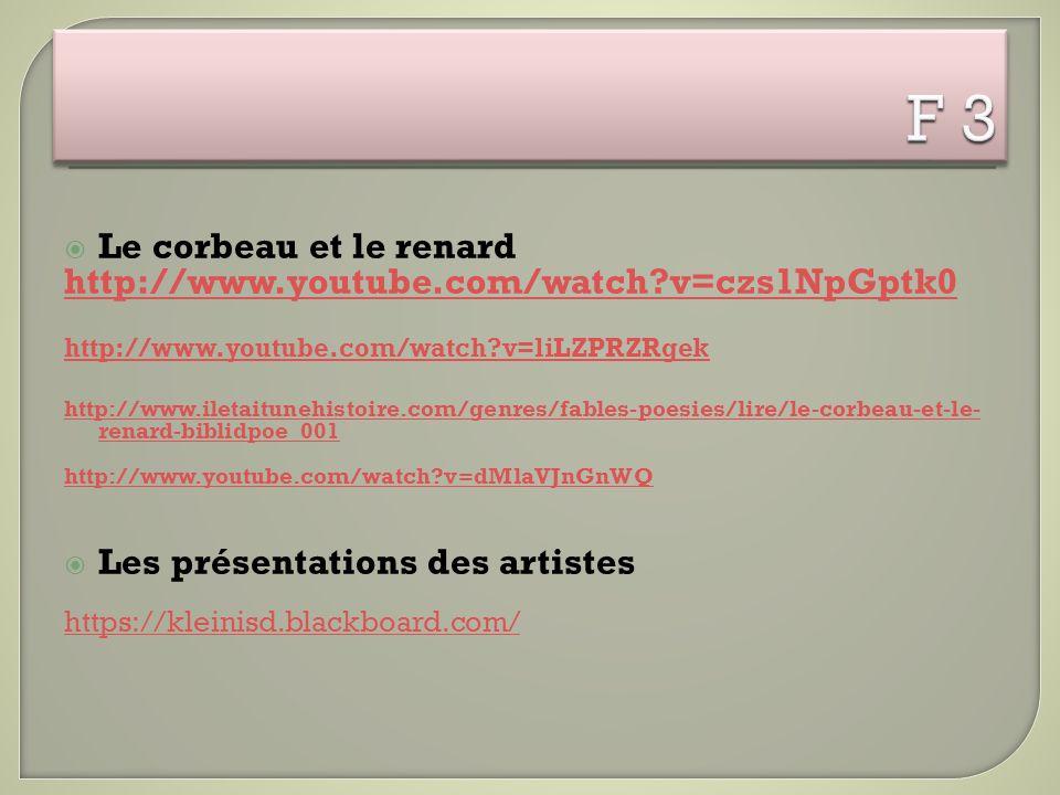  Le corbeau et le renard http://www.youtube.com/watch?v=czs1NpGptk0 http://www.youtube.com/watch?v=liLZPRZRgek http://www.iletaitunehistoire.com/genr