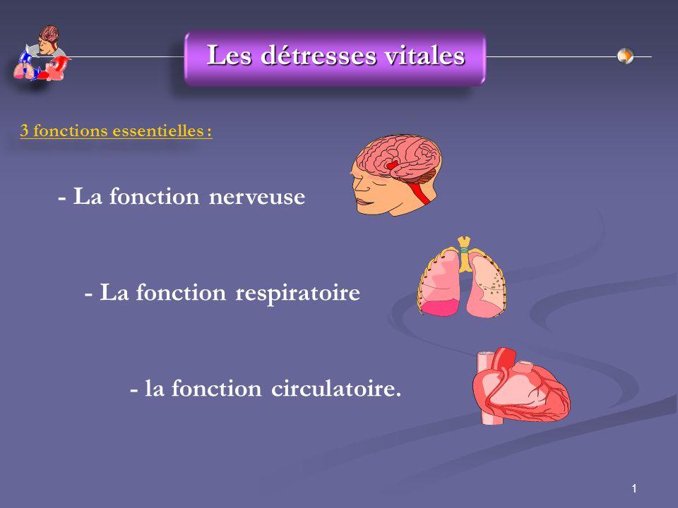 1 Les détresses vitales 3 fonctions essentielles : - La fonction nerveuse - la fonction circulatoire. - La fonction respiratoire