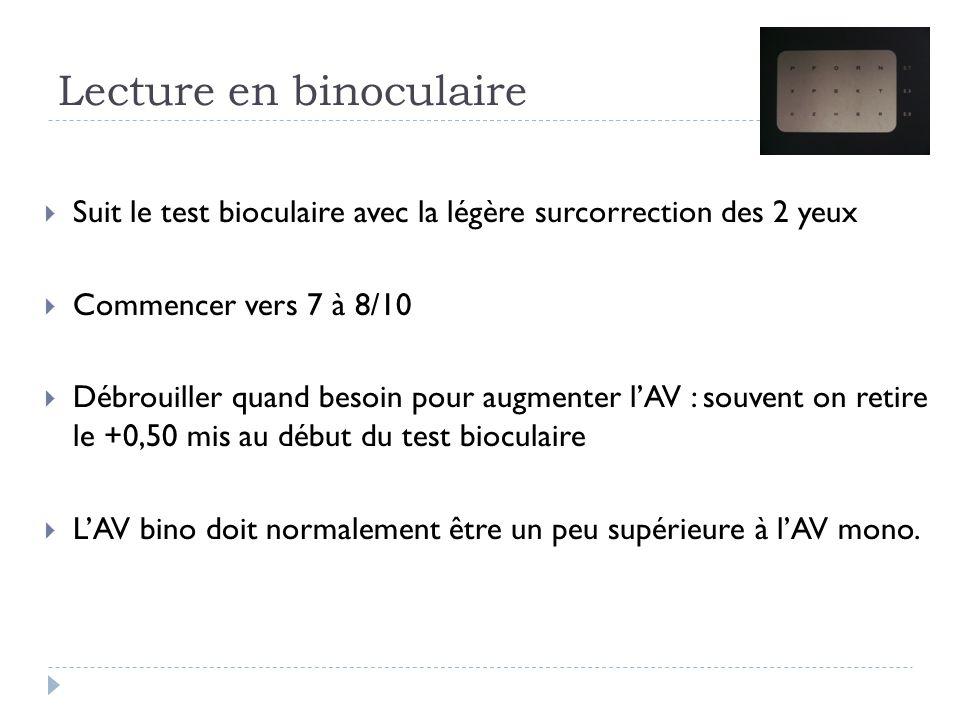 Lecture en binoculaire  Suit le test bioculaire avec la légère surcorrection des 2 yeux  Commencer vers 7 à 8/10  Débrouiller quand besoin pour aug